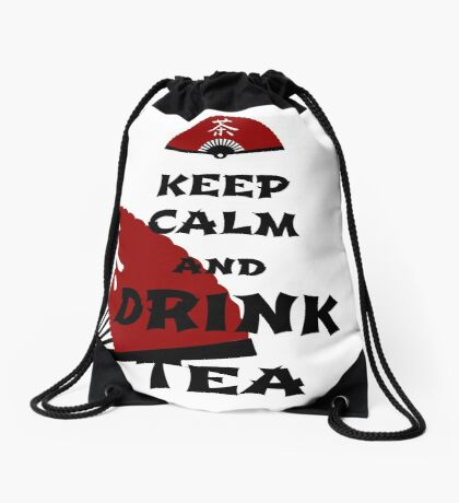 keep calm and drink tea - asia edition Drawstring Bag