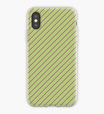 Diagonal Green and Purple Stripes iPhone Case
