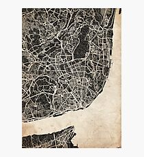 lisbon map ink lines Photographic Print