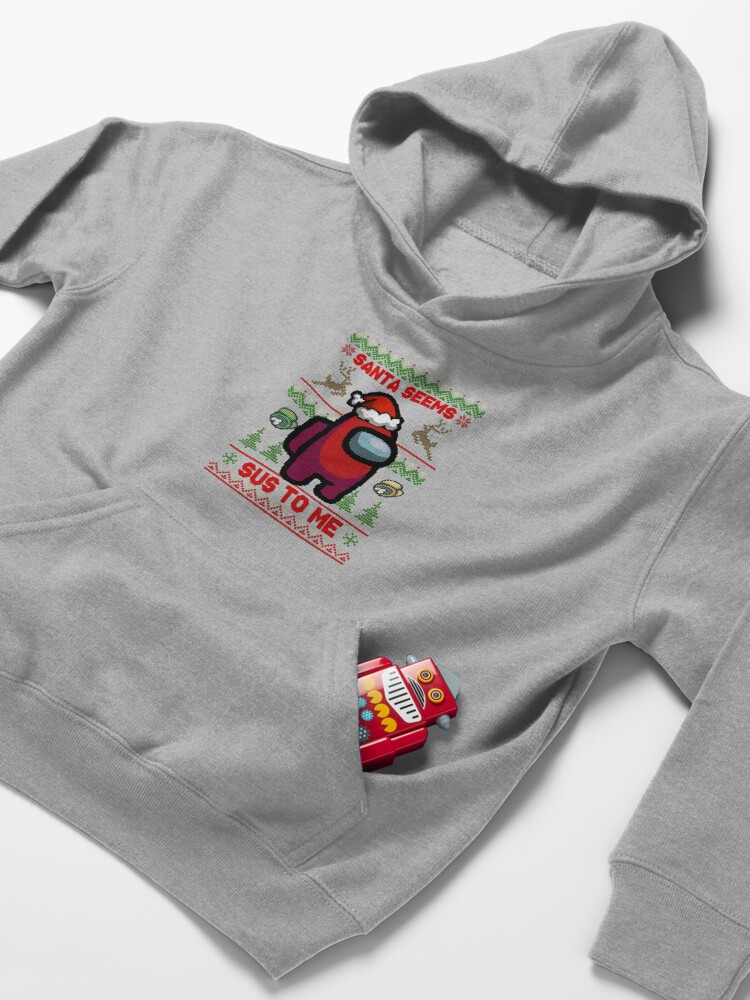 Alternate view of Santa Seems Sus To Me - Among Us Ugly Sweater Kids Pullover Hoodie
