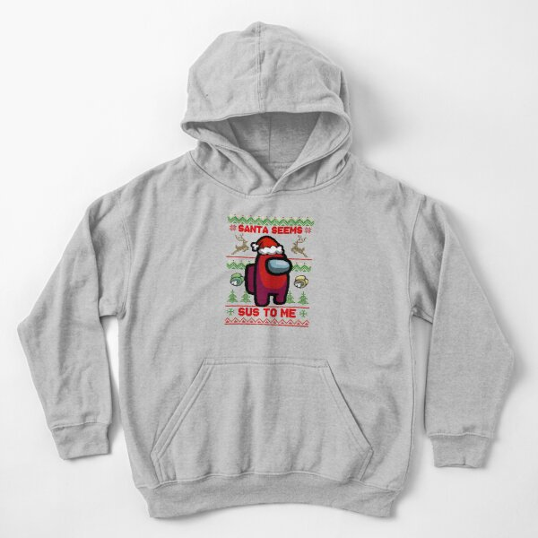 Santa Seems Sus To Me - Among Us Ugly Sweater Kids Pullover Hoodie