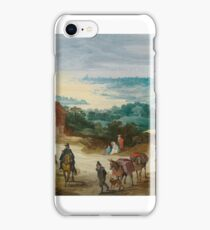 January Bureghel II (-) Stretch riverside with drawing handlers and locking hikers in front of a village iPhone Case/Skin