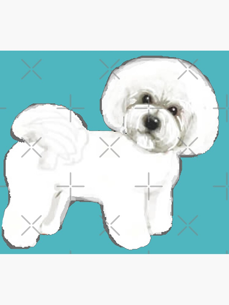 Bichon Frise dogs Fun Summer Turquoise by MagentaRose