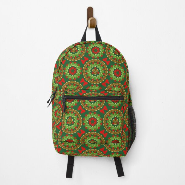Christmas pattern of Brussels sprouts chestnuts cranberries  Backpack