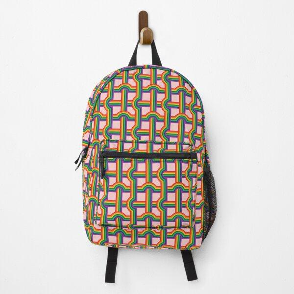 Scandi Midcentury Modern Retro Geometric Rainbow Grid Pink Checks Pattern Backpack