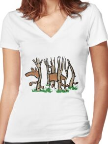 the elusive thylacine Women's Fitted V-Neck T-Shirt