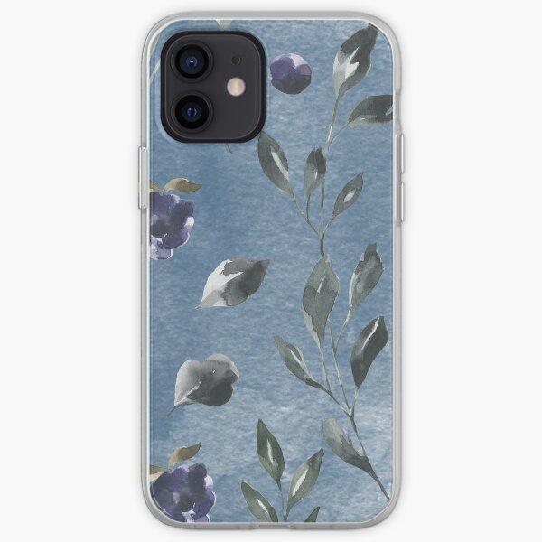 Dark blue watercolor rose flower iPhone Soft Case