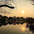 Sunset, West Lake, Hangzhou, China by Simone Maynard