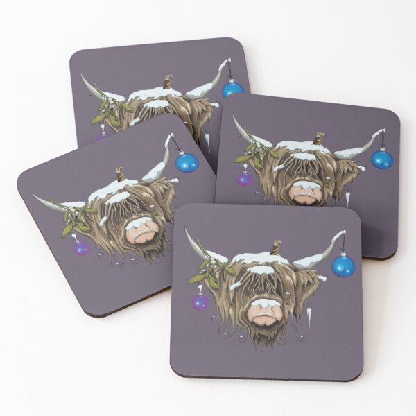 Christmas Highland Cow Coasters (Set of 4)