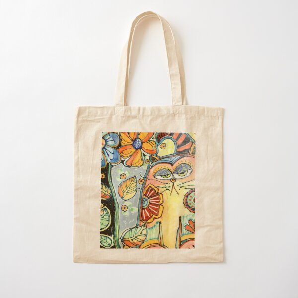 Cat in the Garden Cotton Tote Bag