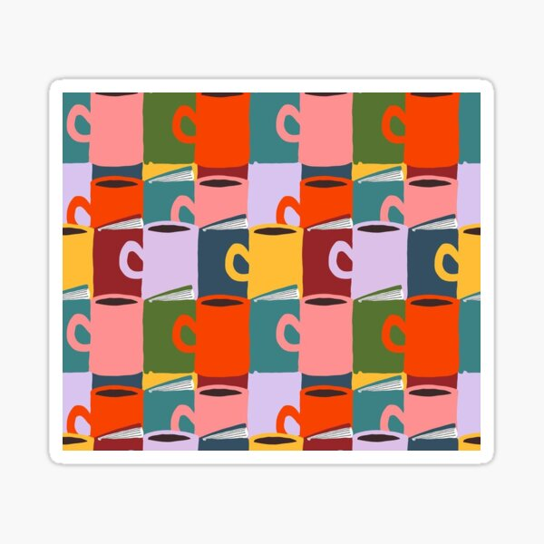 """Cozy Hygge Reading"" Pop Art Modern Books Coffee Tea Pink Red Orange Yellow Blue Green Graphic Designer Print Sticker"