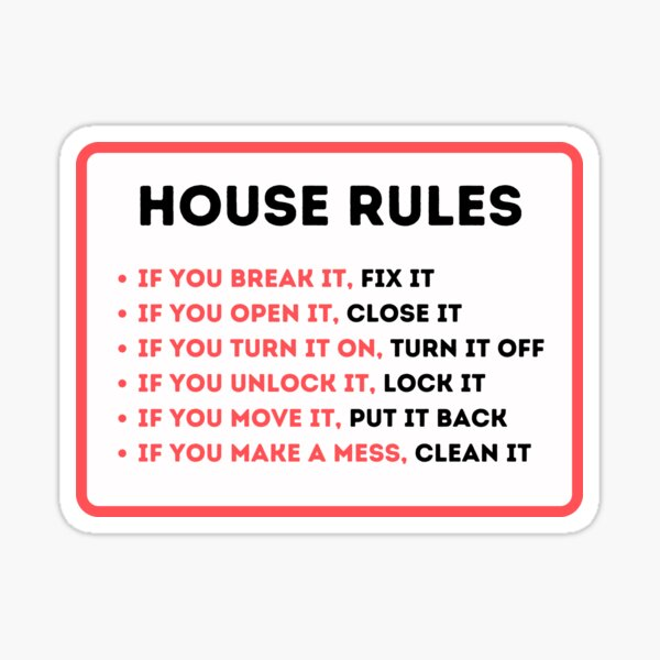 Funny House Rules for Vacation Rentals Sticker