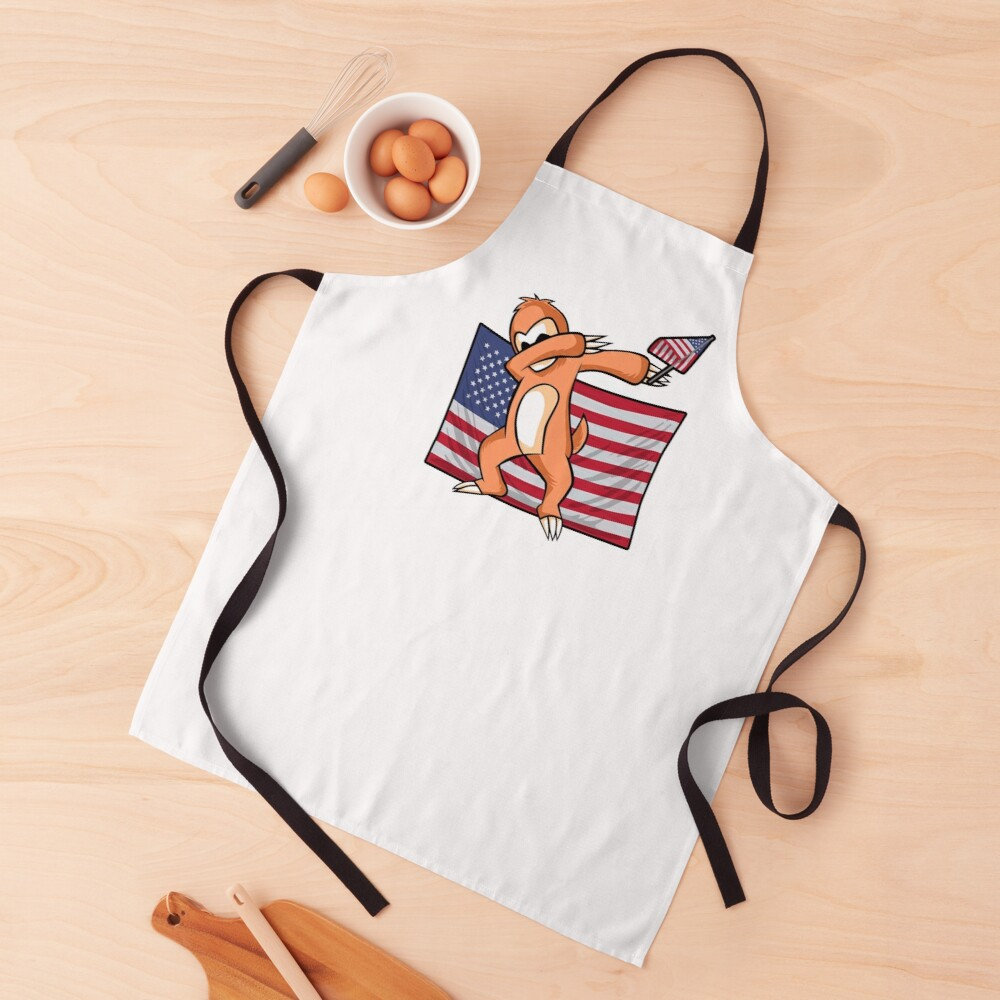 Dab For Freedom Sloth American Flag Apron