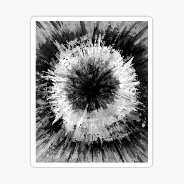 Black and White Tie Dye Painted Multi-Media Design Sticker