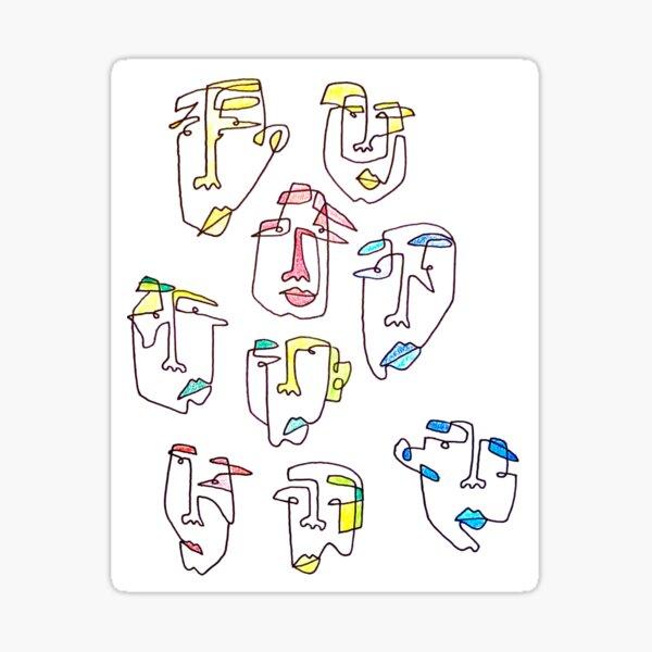 Colorful faces Sticker