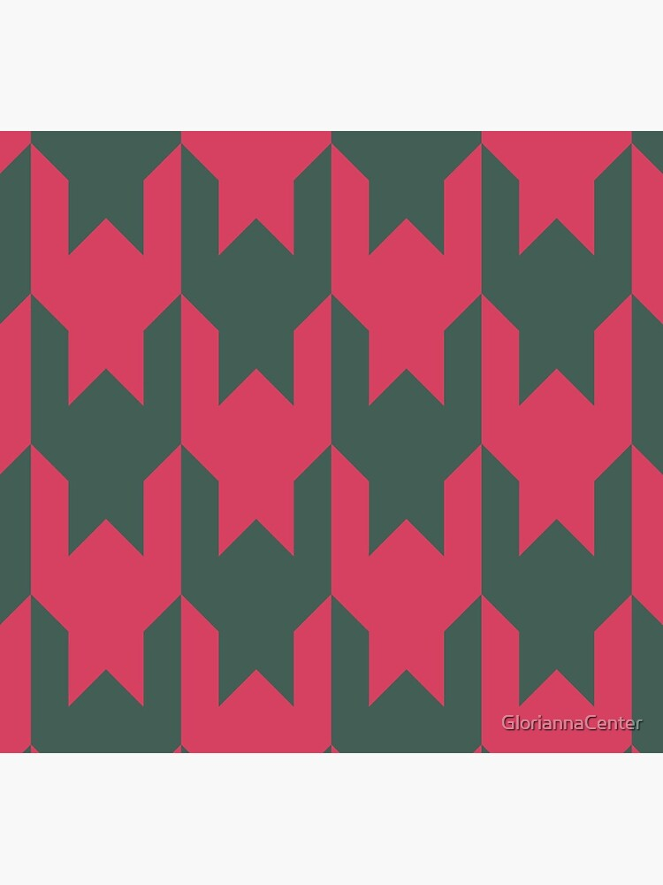 Big houndstooth pattern in green and pink red color by GloriannaCenter