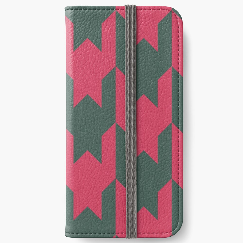 Big houndstooth pattern in green and pink red color iPhone Wallet