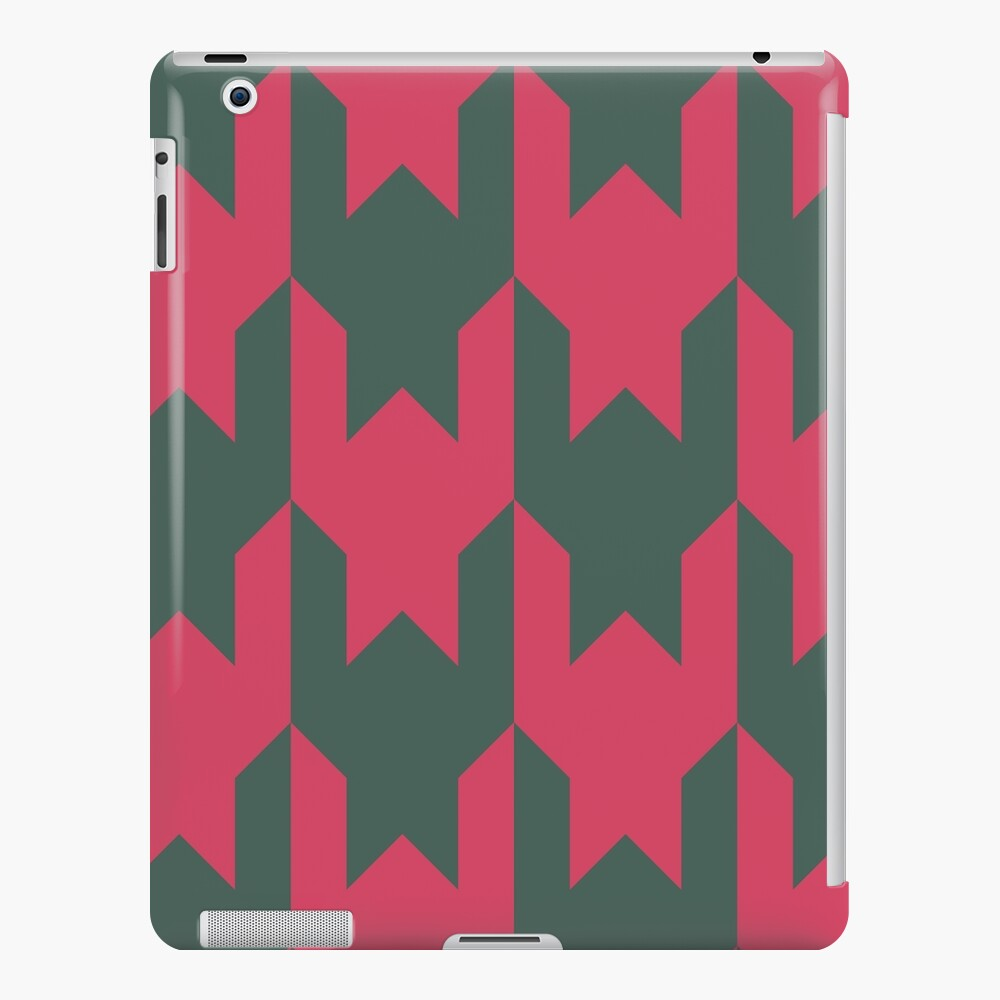 Big houndstooth pattern in green and pink red color iPad Case & Skin