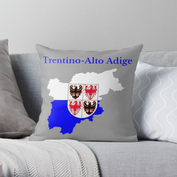 Trentino-South Tyrol Map , Italy, Italian Region. Throw Pillow