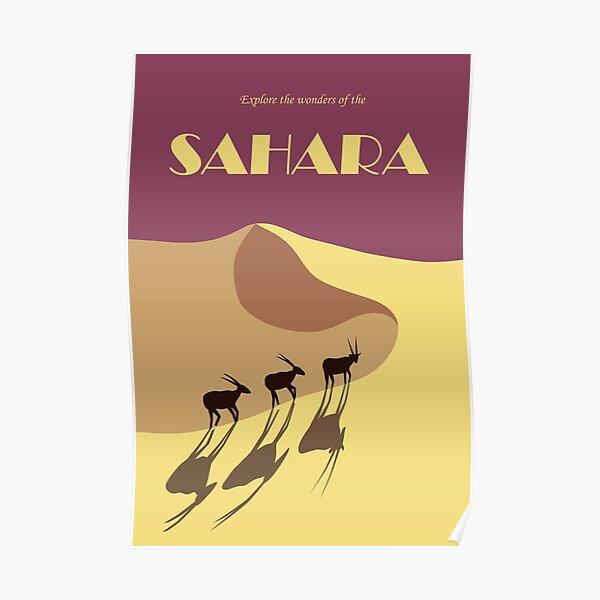 Sahara desert retro travel poster Poster