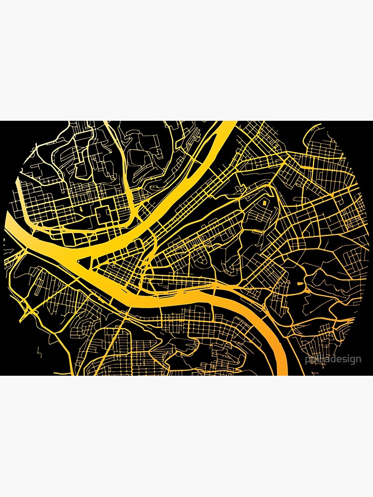 Pittsburgh Map Black and Yellow by polliadesign