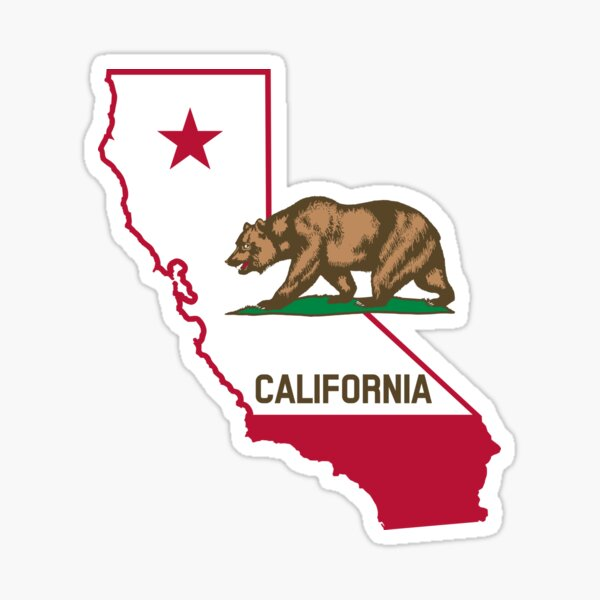 State of California Grizzly Bear and Flag Sticker