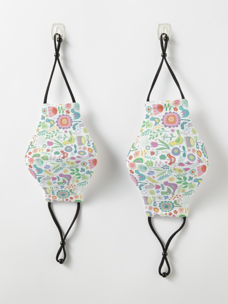 Alternate view of Birds and Blooms - on white - pretty floral bird pattern by Cecca Designs Mask