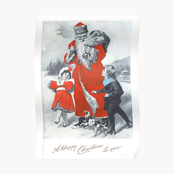 """Vintage """"A Happy Christmas To You"""" Postcard (1904) Poster"""