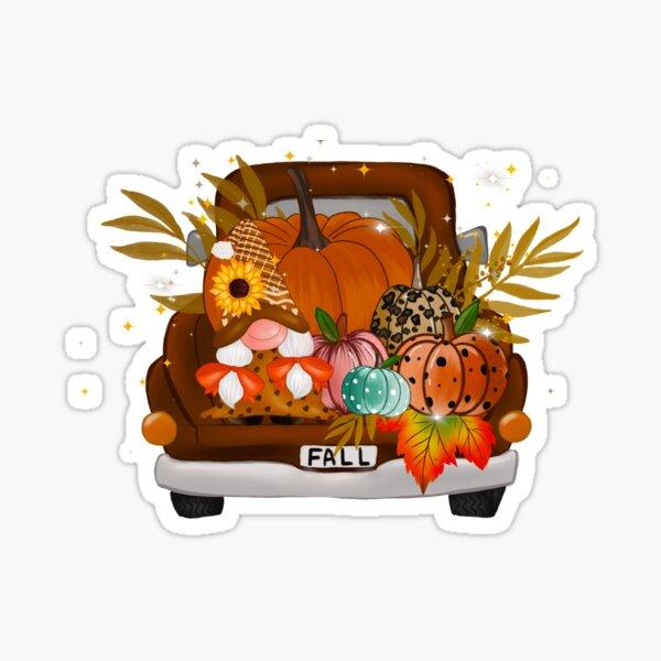 Fall Thanksgiving Gnomes Pumpkins Truck Sticker