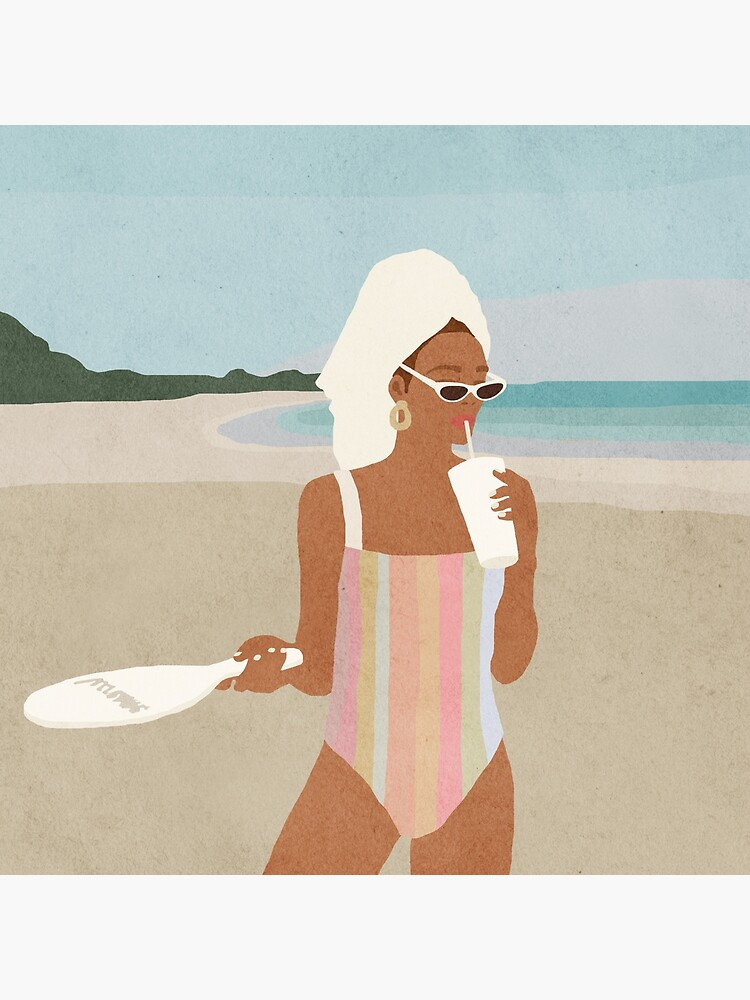 Girl on the beach, Woman, Mid century art by juliaemelian