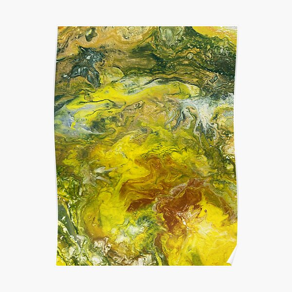 Yellow, Green, Silver and Red pour painting. Poster