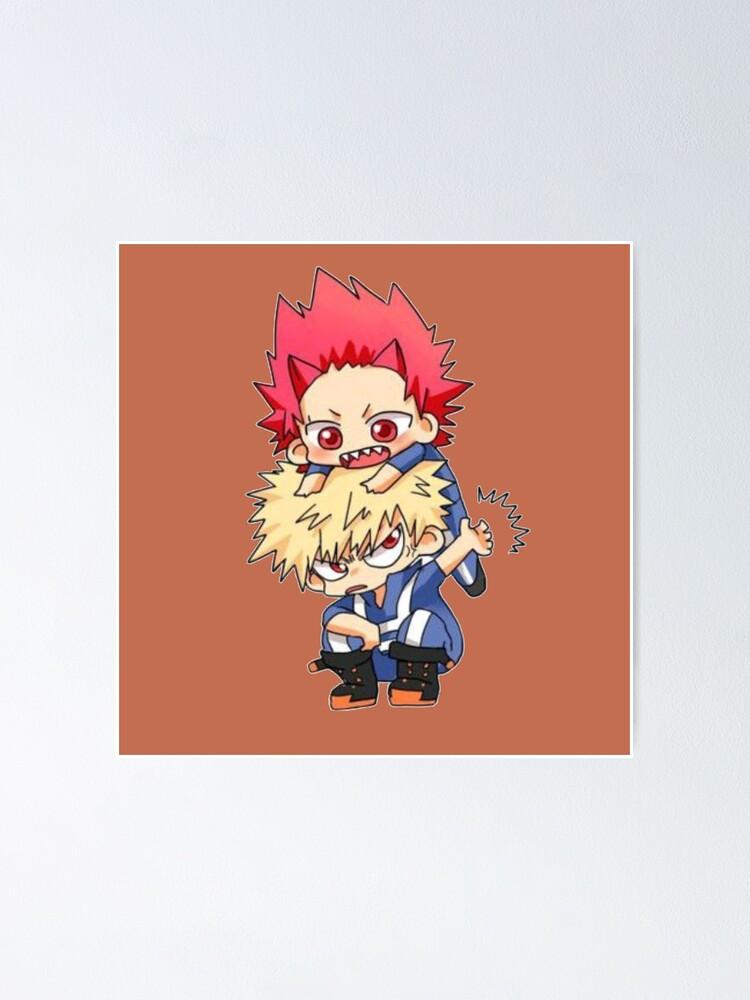 Cute Bakugou And Kirishima Chibi Mha Poster By Eidlike Redbubble