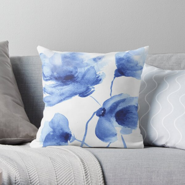 Blue Poppy Watercolor Throw Pillow