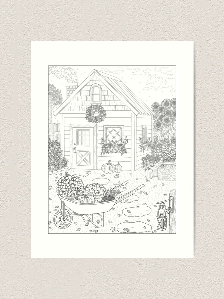 Alternate view of Autumn Cottage Coloring Page Art Print