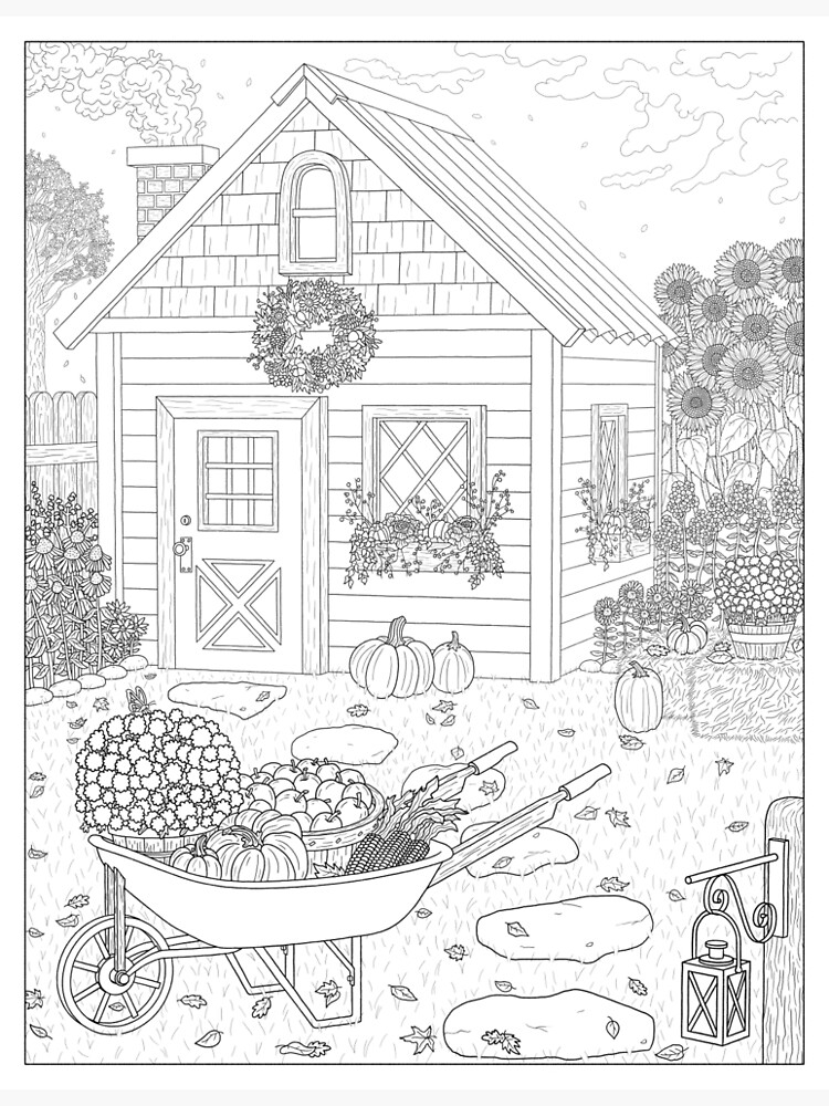 Autumn Cottage Coloring Page by DreamRipple