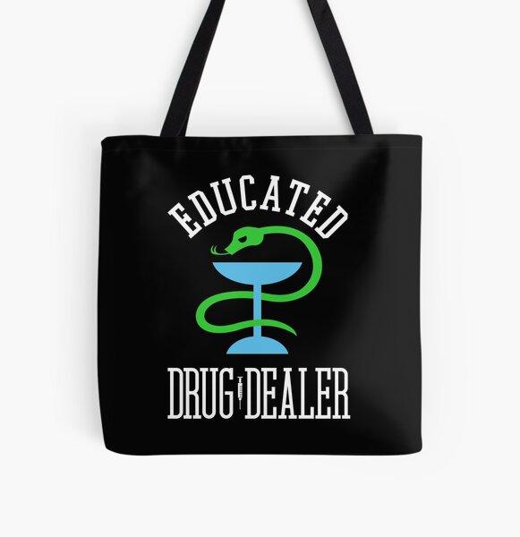 Distribuidor de drogas educado Enfermera divertida, médico, farmacéutico Diseño Bolsa estampada de tela