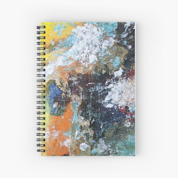 Yellow, Green, White, Orange, Teal Abstract Acrylic Art Spiral Notebook