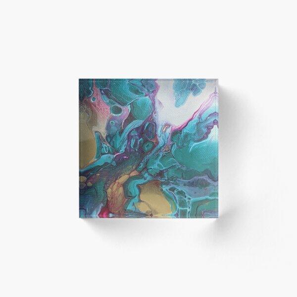 Metallic Turquoise, Magenta, Gold Abstract Acrylic Pour Art Acrylic Block