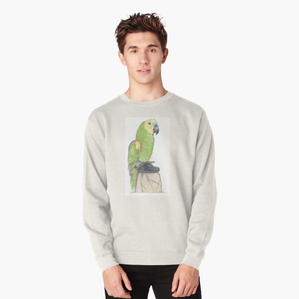 Parrot in combat boots Pullover Sweatshirt
