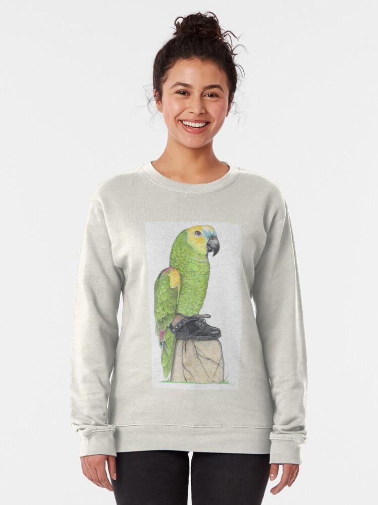 Alternate view of Parrot in combat boots Pullover Sweatshirt