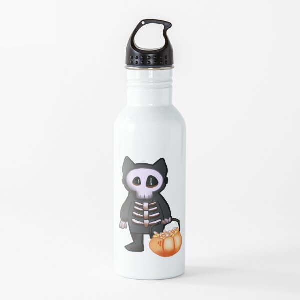 Skeleton Costume With Candy Corn Water Bottle