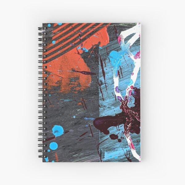 Orange, Black, Blue, White Unique Abstract Acrylic Art  Spiral Notebook