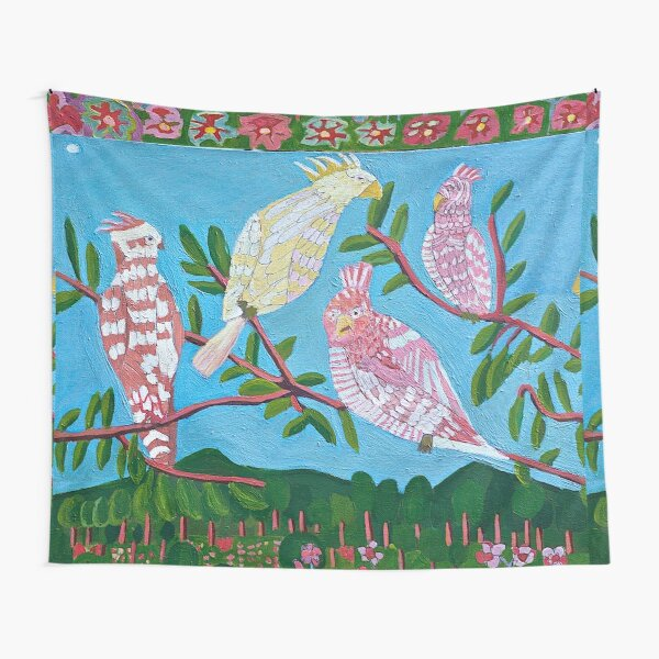 White Cockatoos Galahs Australian Bird Art Tapestry