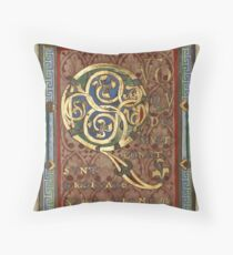 Decorated Incipit Page - Opening of Luke's Gospel (1120 - 1140 AD) Throw Pillow