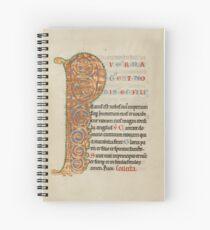 Illuminated Manuscript - Inhabited Initial P (1180 AD) Spiral Notebook