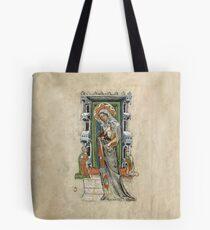 Medieval Miniature - Saint Hedwig of Silesia with Duke Ludwig of Legnica and Brieg and Duchess Agnés (1353 AD) Tote Bag