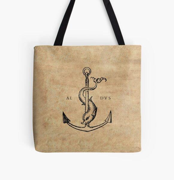 Festina Lente - Aldus Manutius Printer's Mark All Over Print Tote Bag