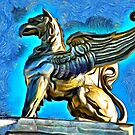 A digital painting of a Gryphon on TheTheodor Costescu Cultural Palace in Romania by Dennis Melling