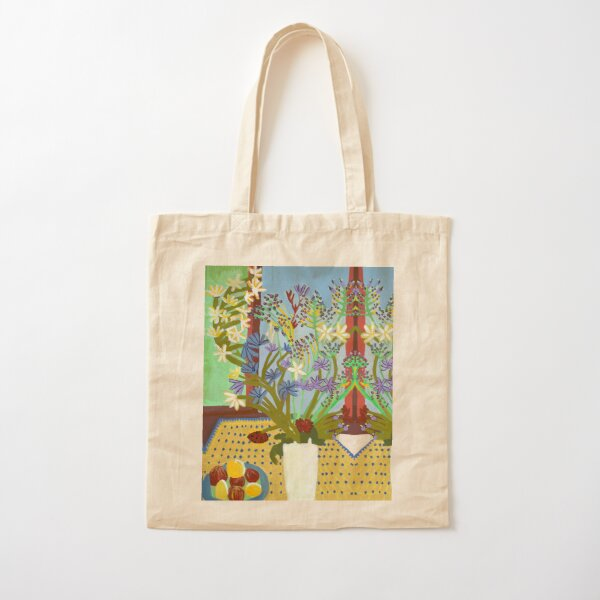 Flowers and Fruit in Yellow and Blue Cotton Tote Bag
