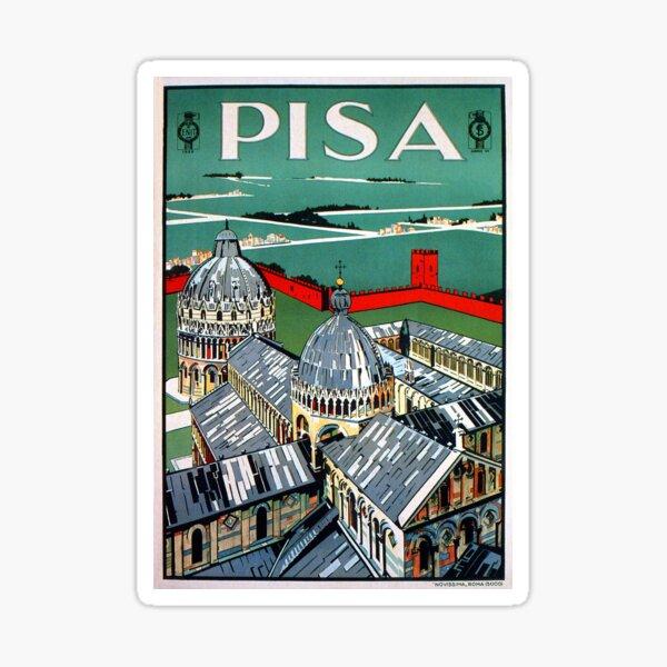 Vintage 1920s Pisa Italian travel advert Sticker